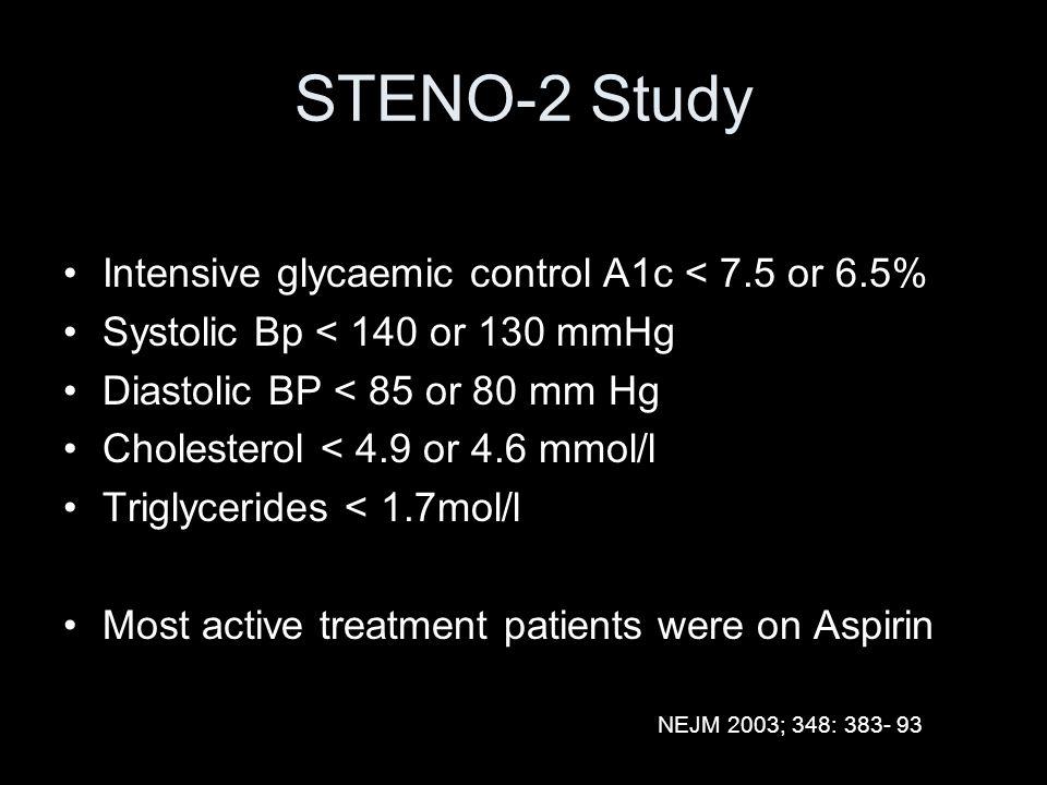STENO-2 Study Intensive glycaemic control A1c < 7.5 or 6.5%