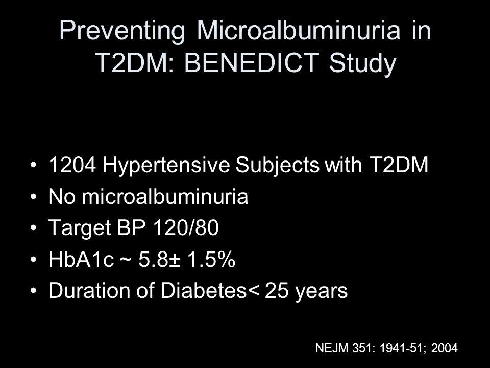 Preventing Microalbuminuria in T2DM: BENEDICT Study
