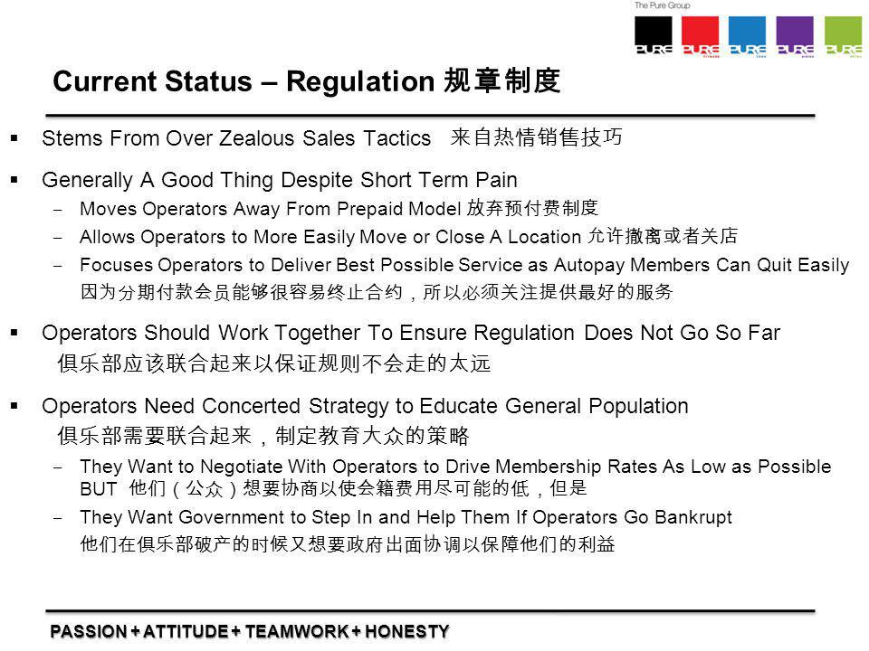 Current Status – Regulation 规章制度
