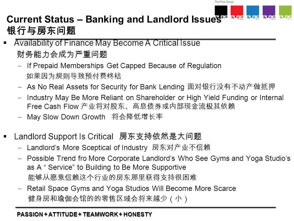 Current Status – Banking and Landlord Issues 银行与房东问题