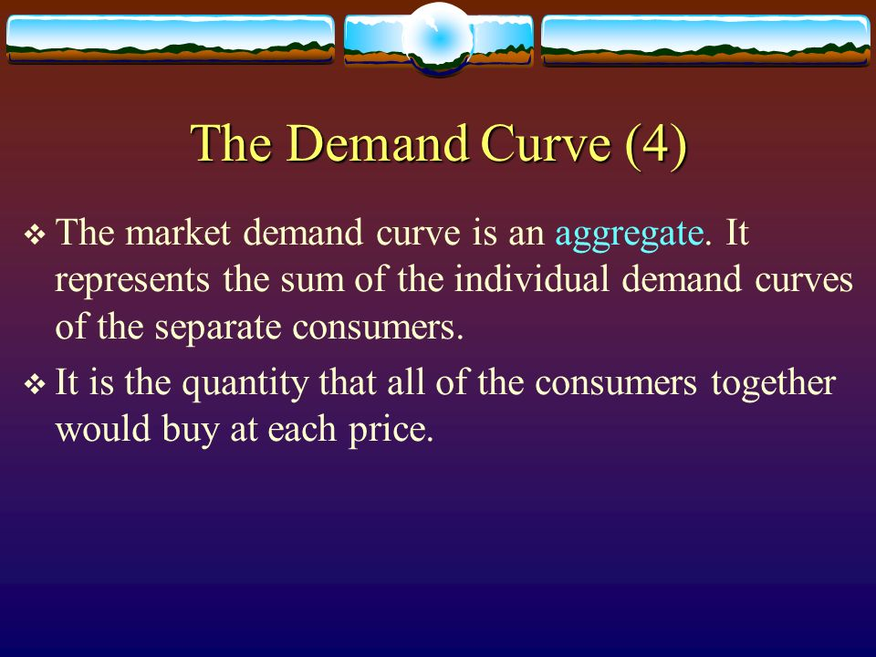 The Demand Curve (4) The market demand curve is an aggregate. It represents the sum of the individual demand curves of the separate consumers.