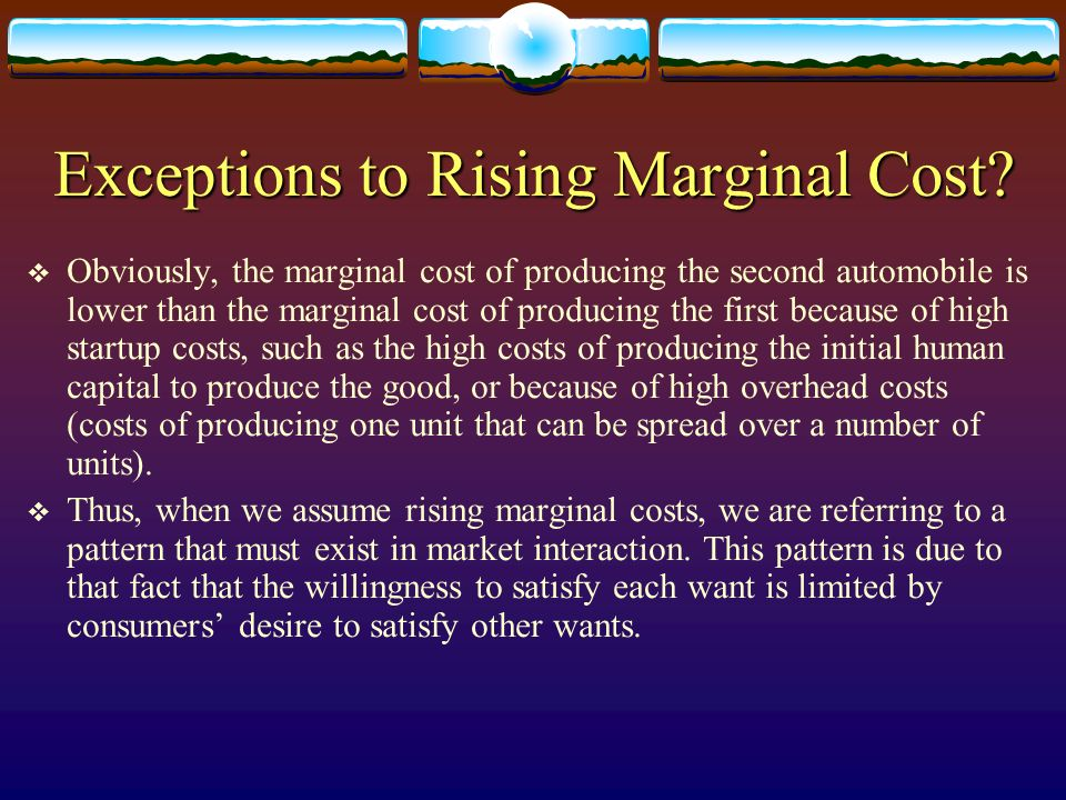 Exceptions to Rising Marginal Cost