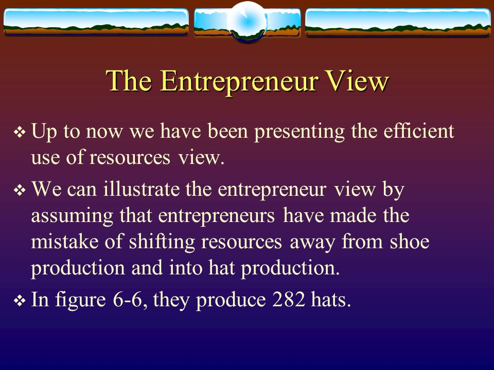 The Entrepreneur View Up to now we have been presenting the efficient use of resources view.