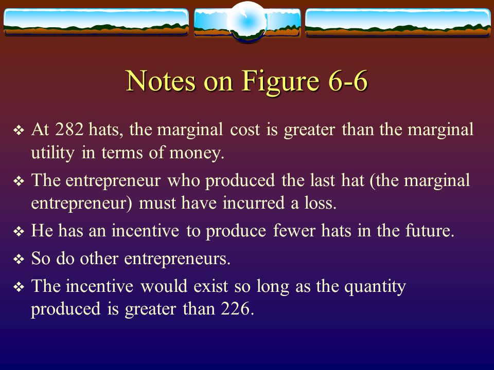 Notes on Figure 6-6 At 282 hats, the marginal cost is greater than the marginal utility in terms of money.
