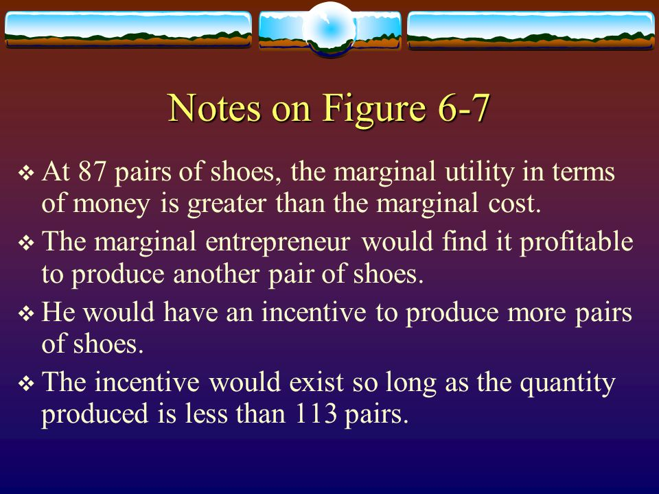 Notes on Figure 6-7 At 87 pairs of shoes, the marginal utility in terms of money is greater than the marginal cost.