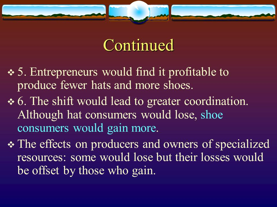 Continued 5. Entrepreneurs would find it profitable to produce fewer hats and more shoes.