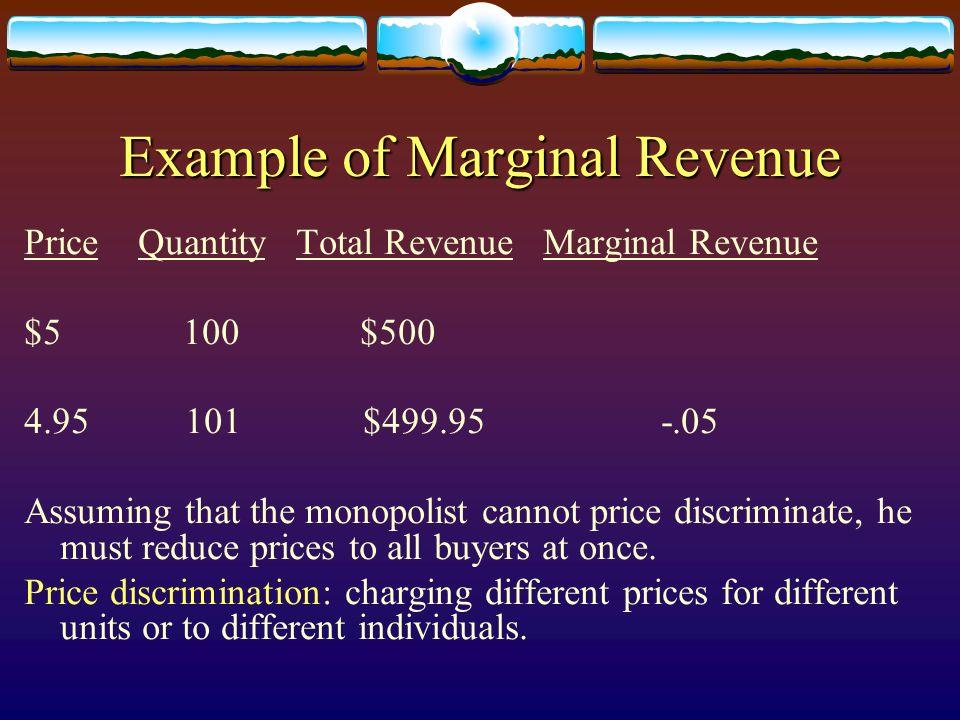 Example of Marginal Revenue