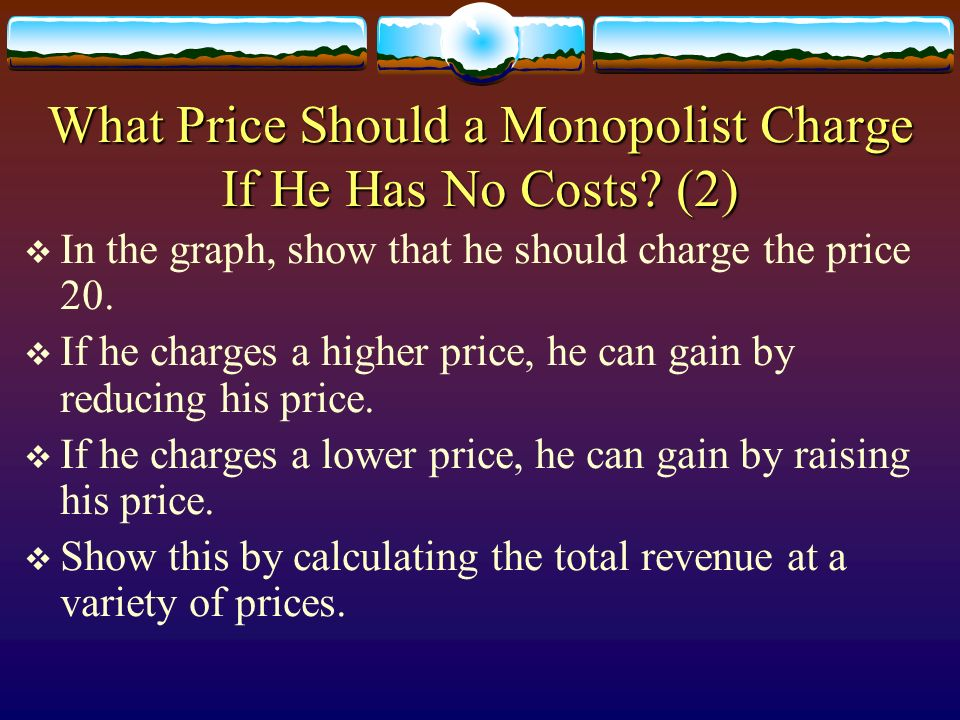 What Price Should a Monopolist Charge If He Has No Costs (2)