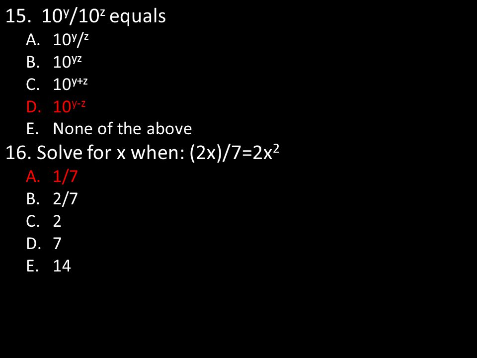 Solve for x when: (2x)/7=2x2