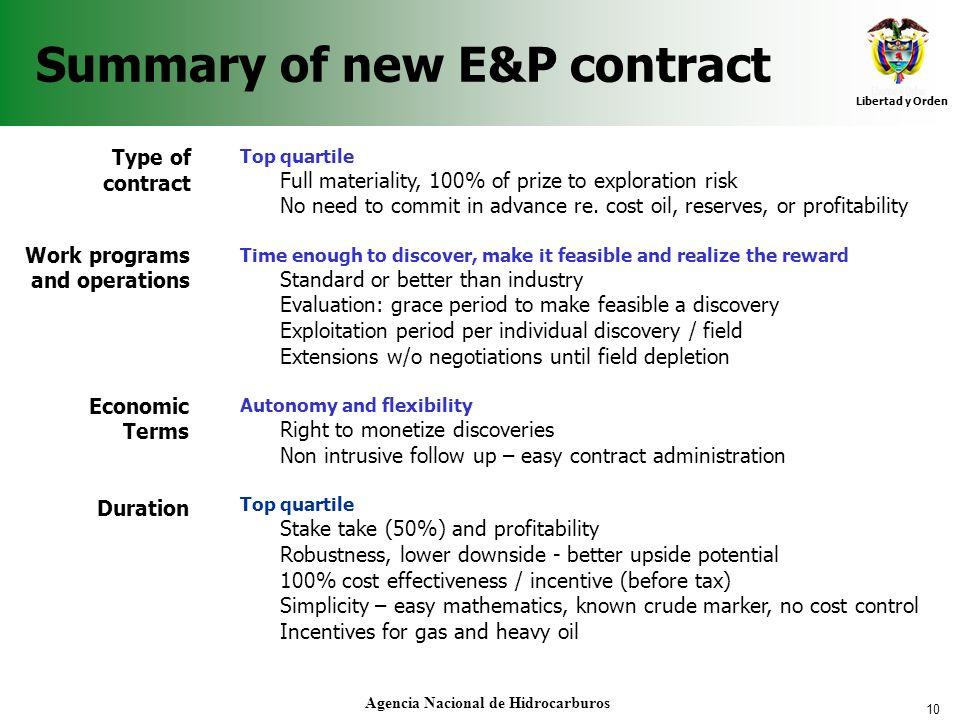 Summary of new E&P contract