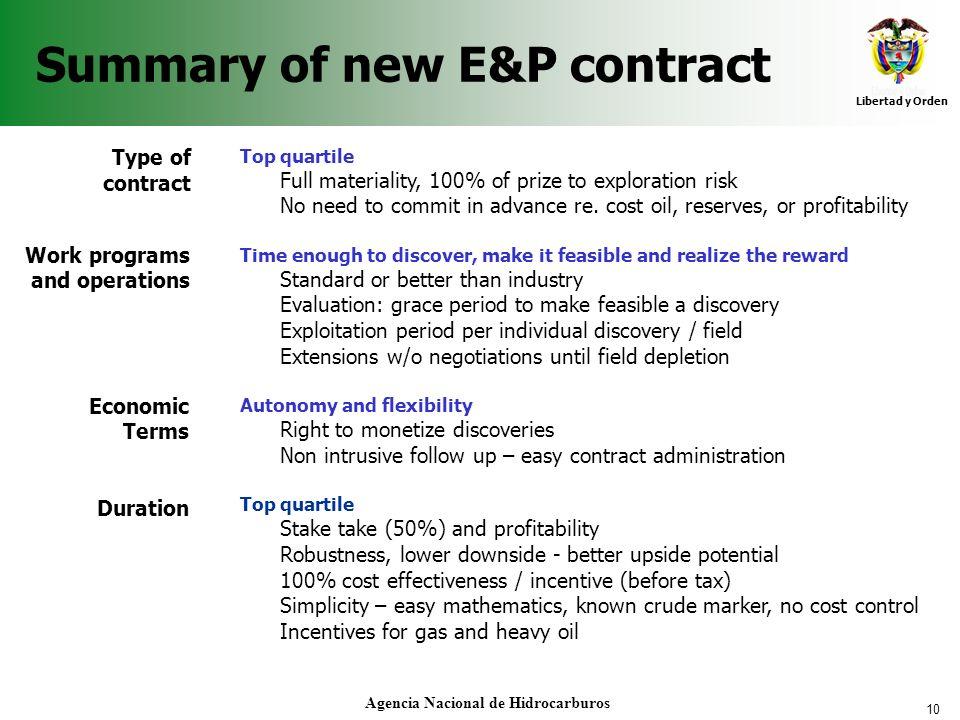 Summary of new E&P contract
