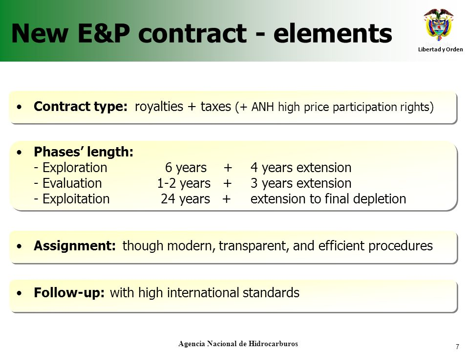 New E&P contract - elements