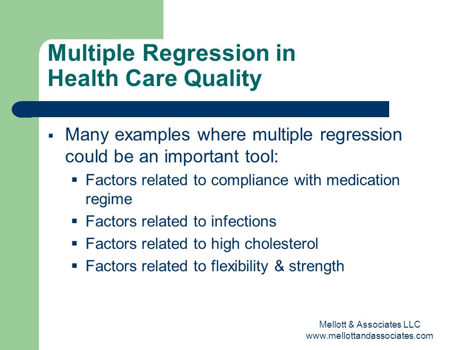 Multiple Regression in Health Care Quality