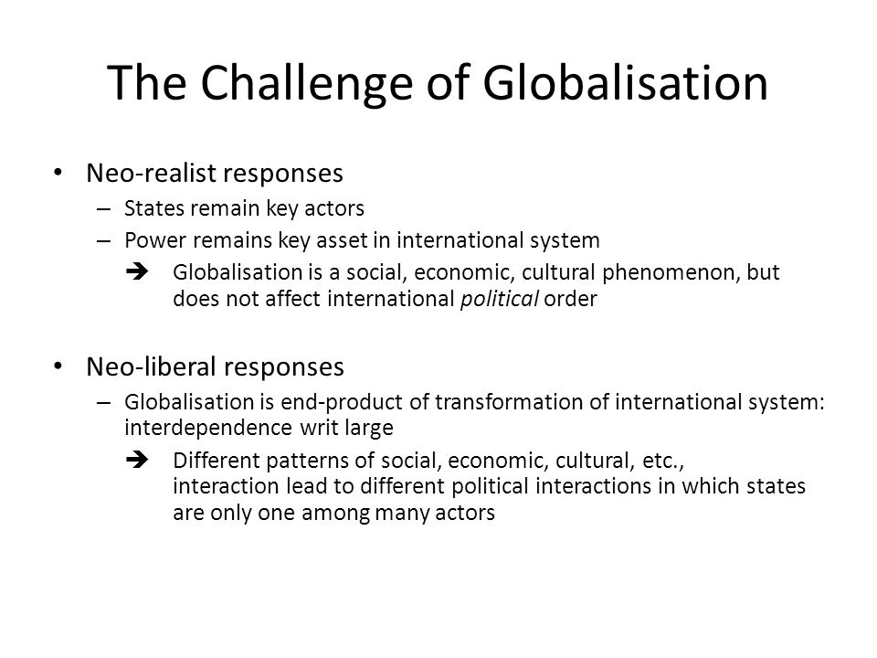 The Challenge of Globalisation