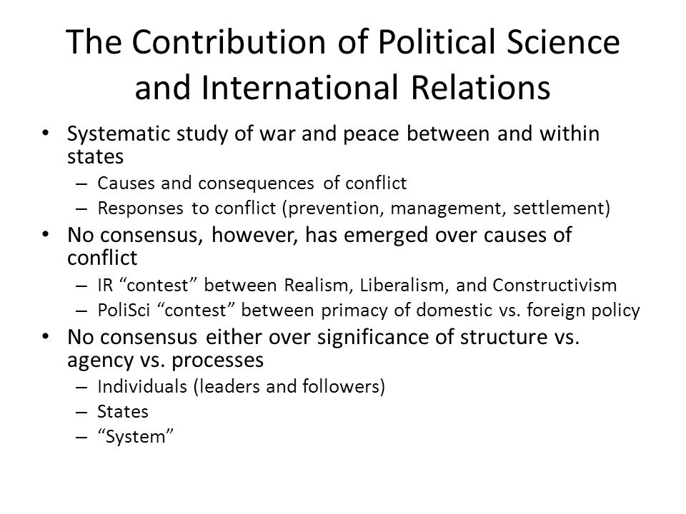 The Contribution of Political Science and International Relations