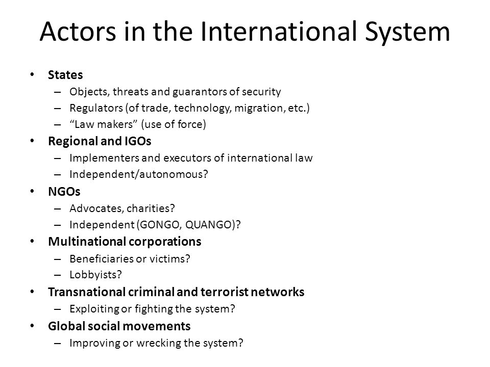Actors in the International System
