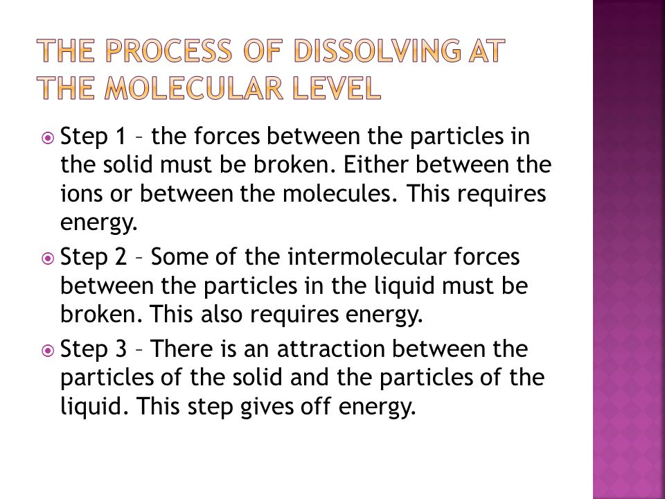 The Process of Dissolving at the Molecular Level