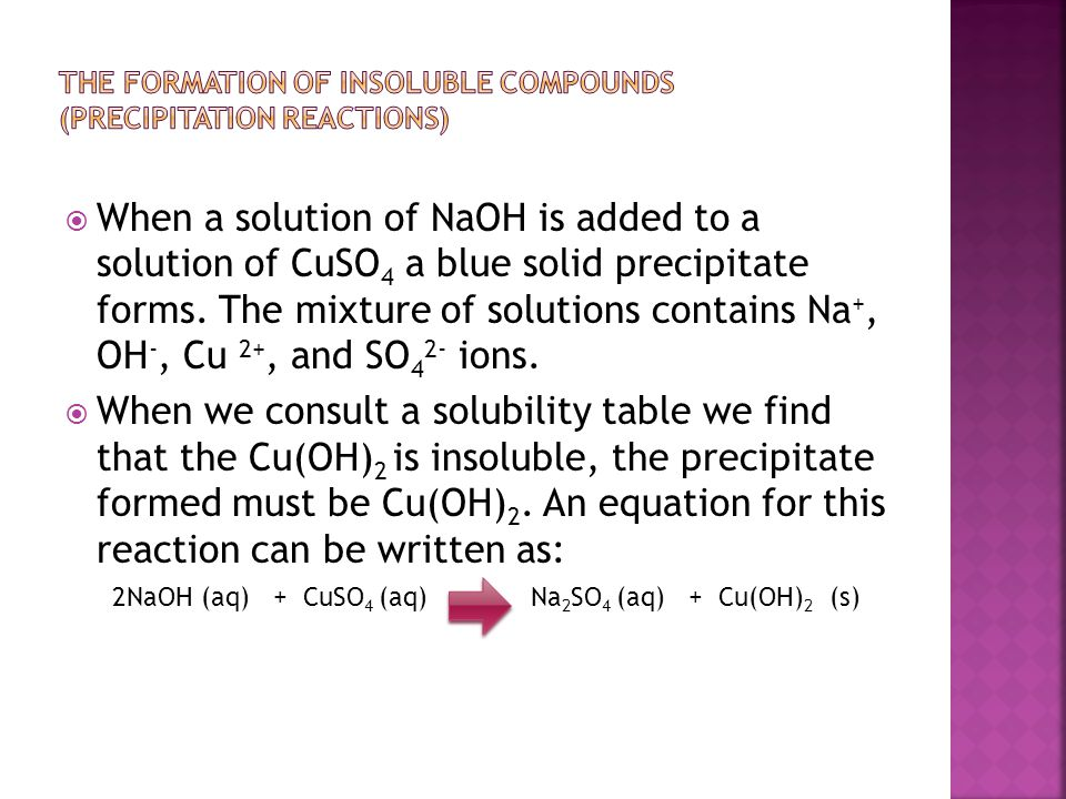 The formation of Insoluble compounds (Precipitation Reactions)