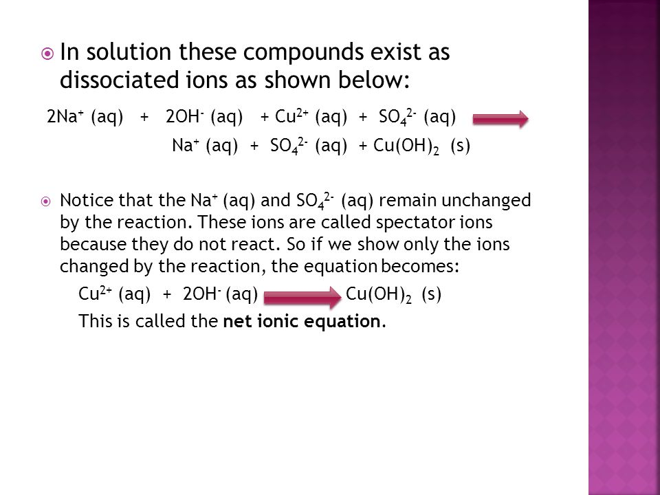 In solution these compounds exist as dissociated ions as shown below: