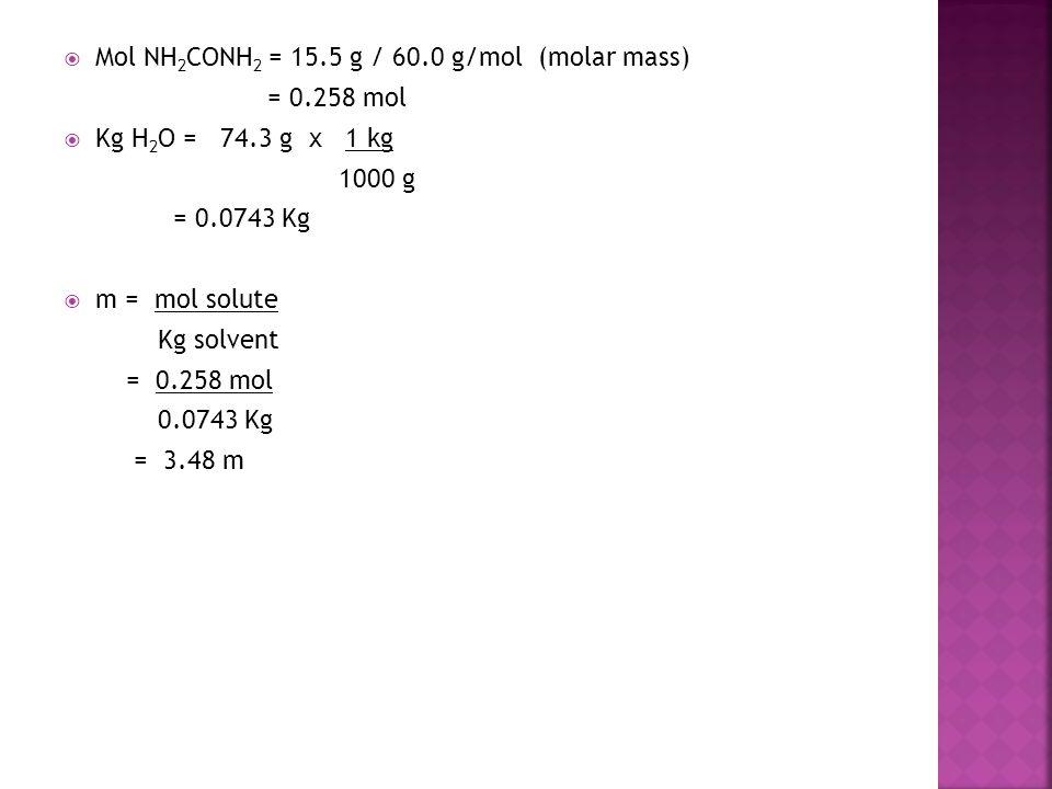 Mol NH2CONH2 = 15.5 g / 60.0 g/mol (molar mass)