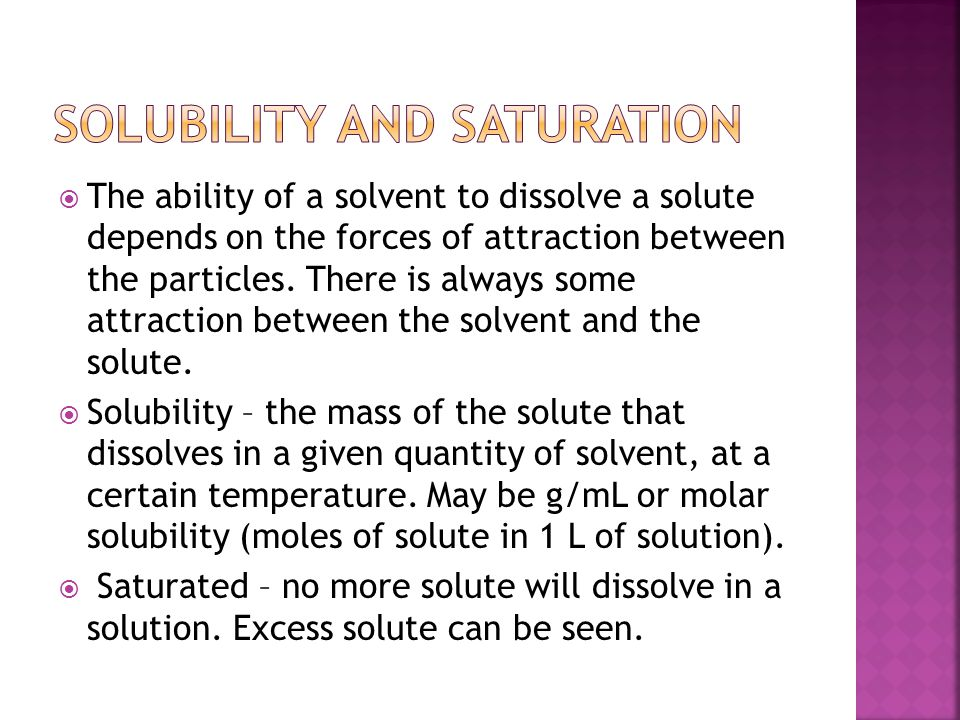 Solubility and Saturation