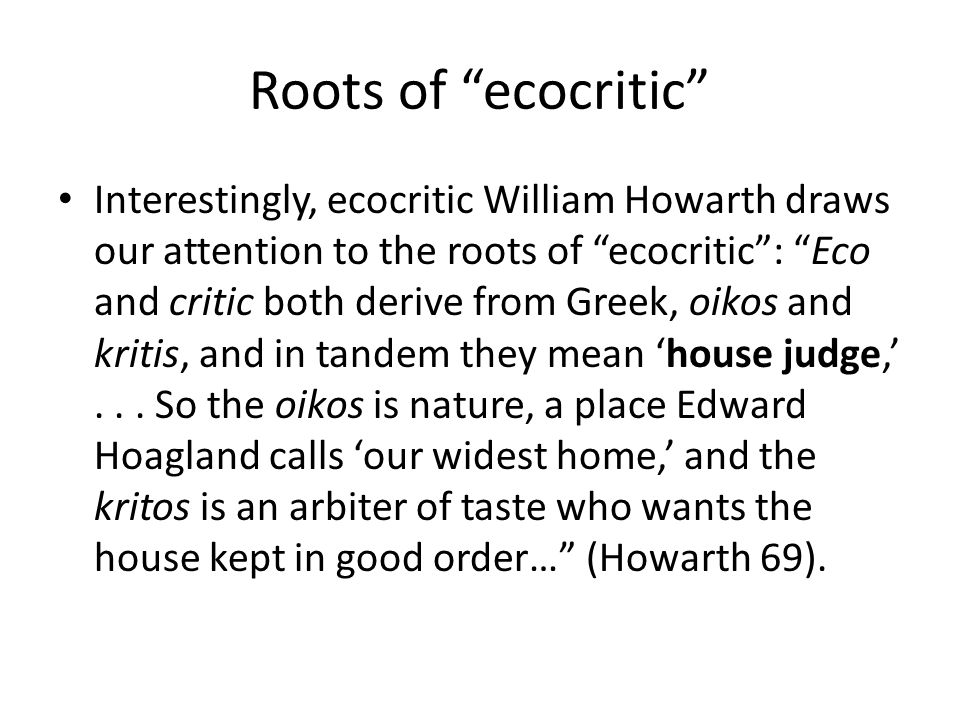 Roots of ecocritic