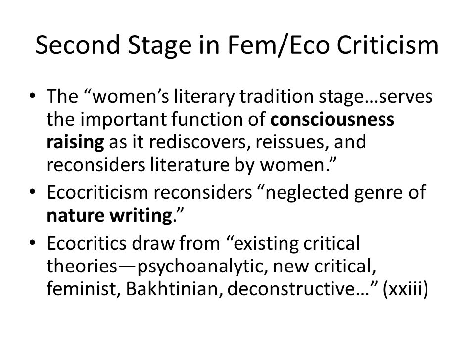 Second Stage in Fem/Eco Criticism