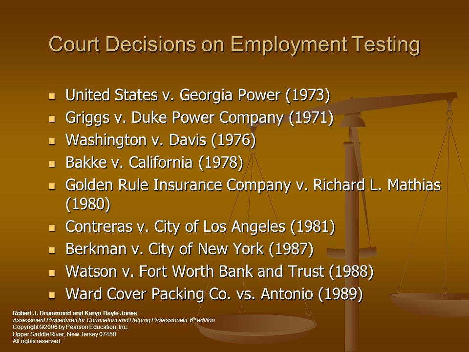 Court Decisions on Employment Testing