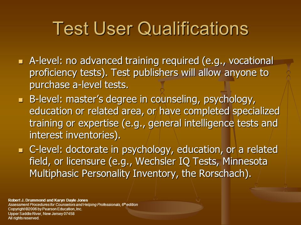 Test User Qualifications