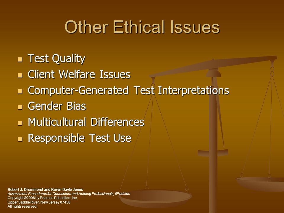 Other Ethical Issues Test Quality Client Welfare Issues