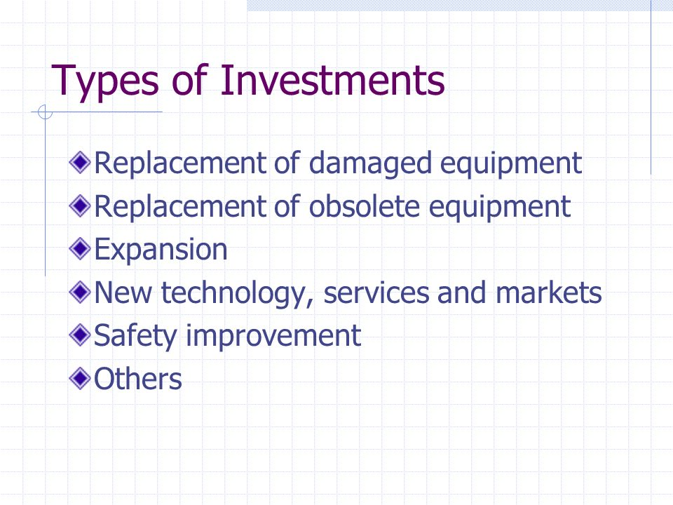 Types of Investments Replacement of damaged equipment