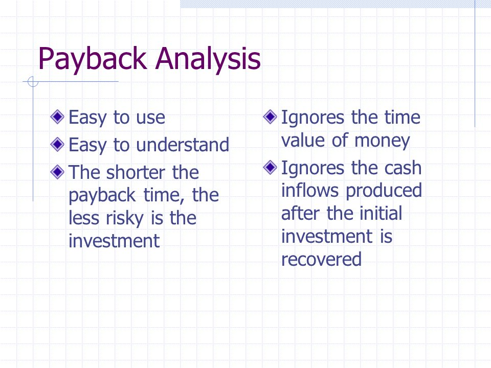 Payback Analysis Easy to use Easy to understand