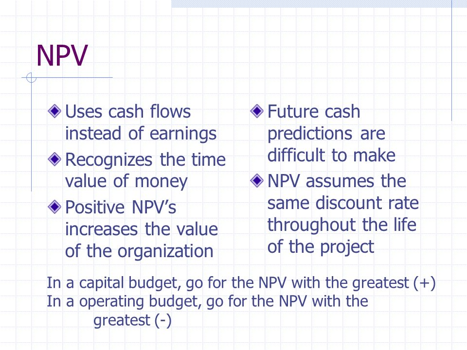 NPV Uses cash flows instead of earnings
