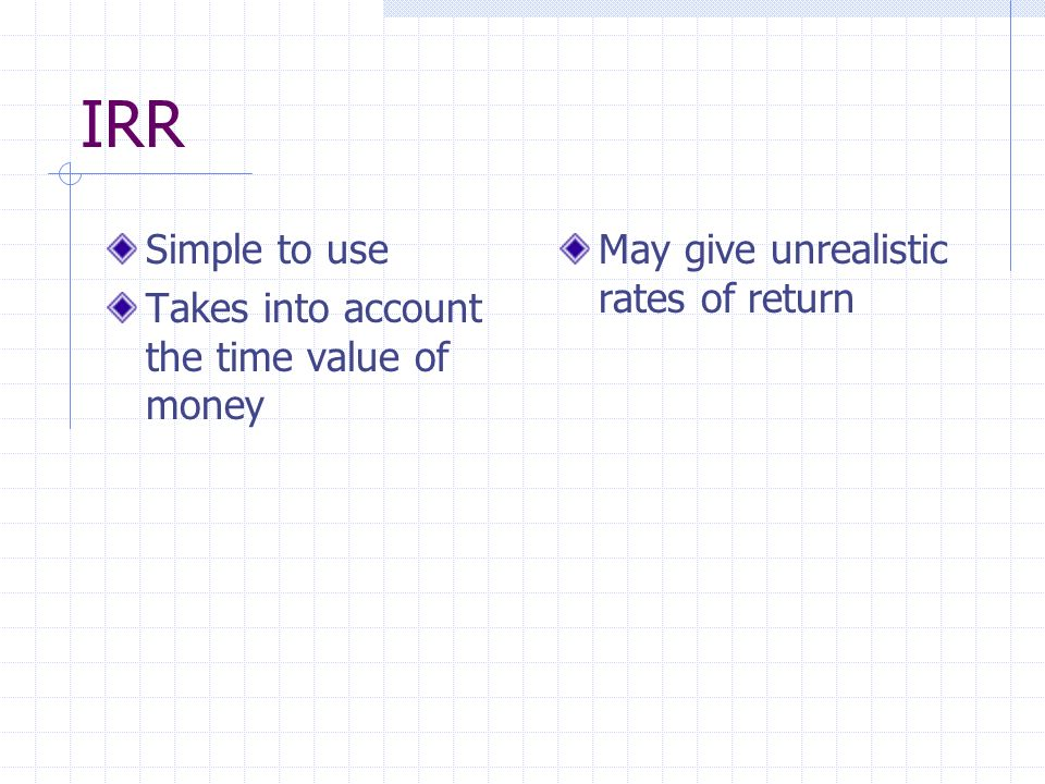 IRR Simple to use Takes into account the time value of money