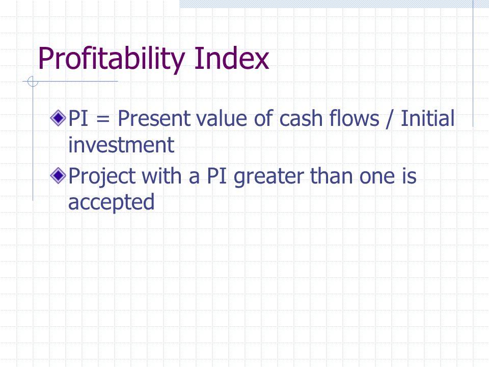 Profitability Index PI = Present value of cash flows / Initial investment.