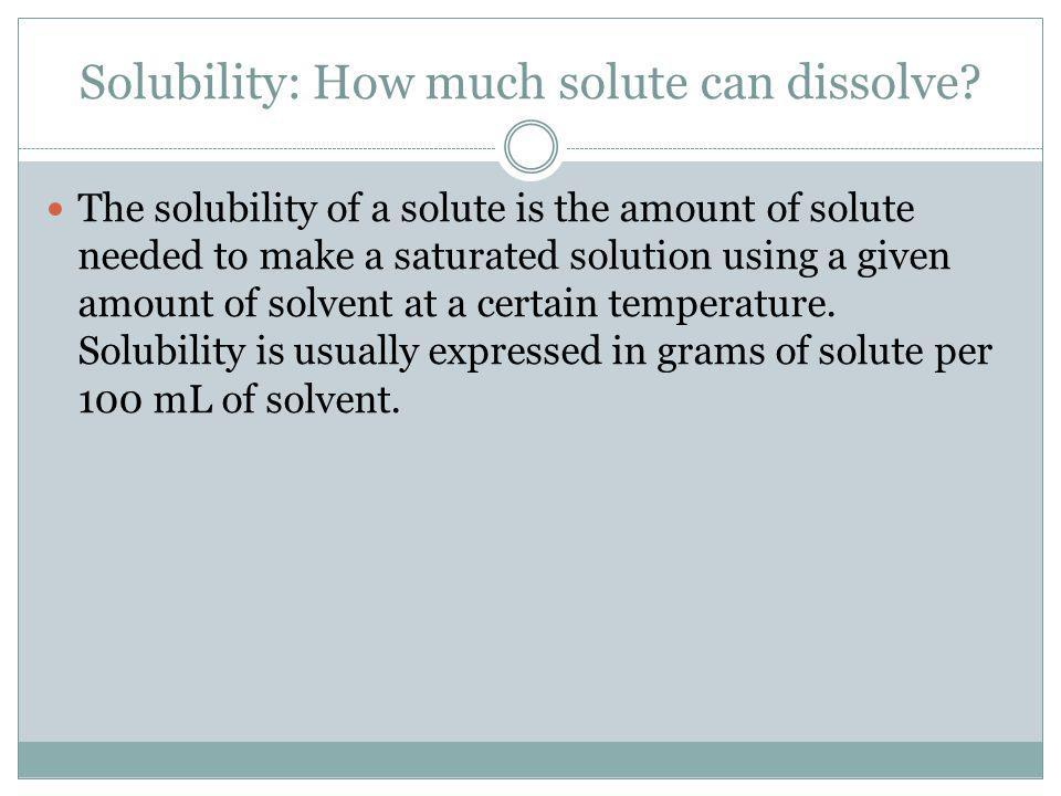 Solubility: How much solute can dissolve