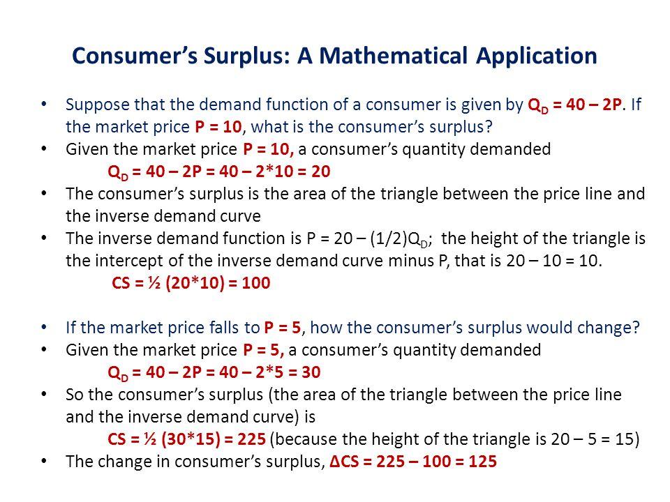 Consumer's Surplus: A Mathematical Application
