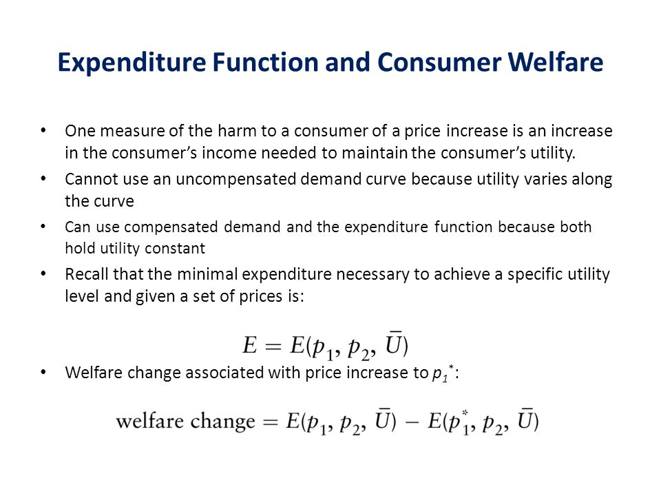 Expenditure Function and Consumer Welfare
