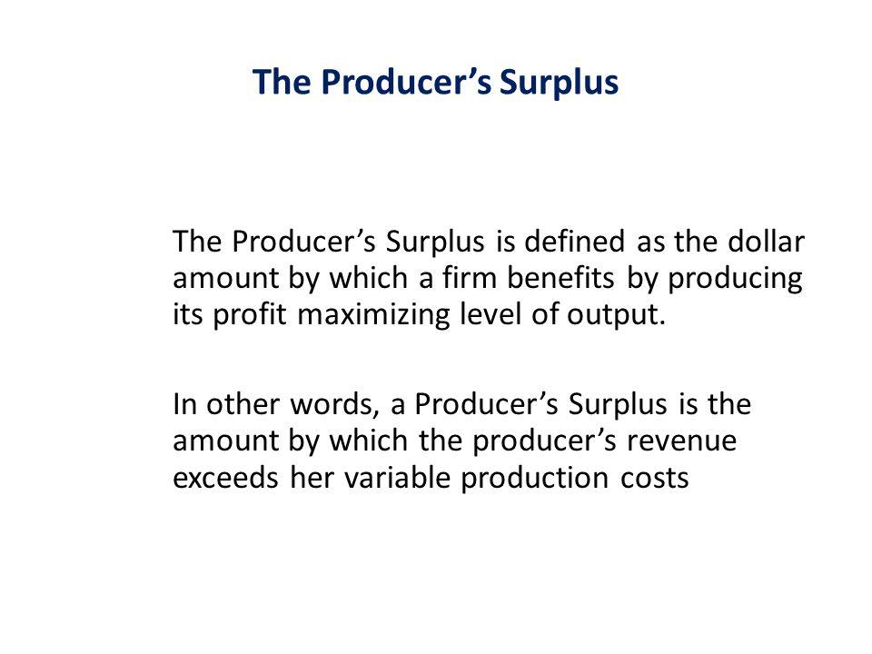 The Producer's Surplus