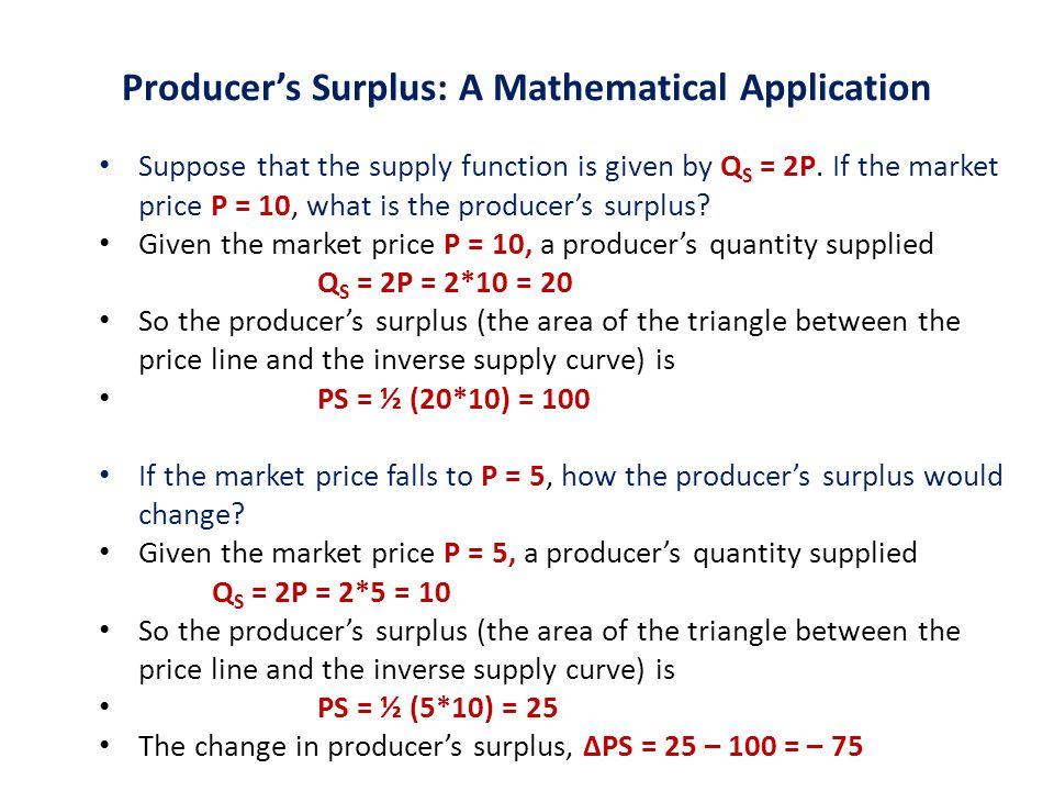 Producer's Surplus: A Mathematical Application