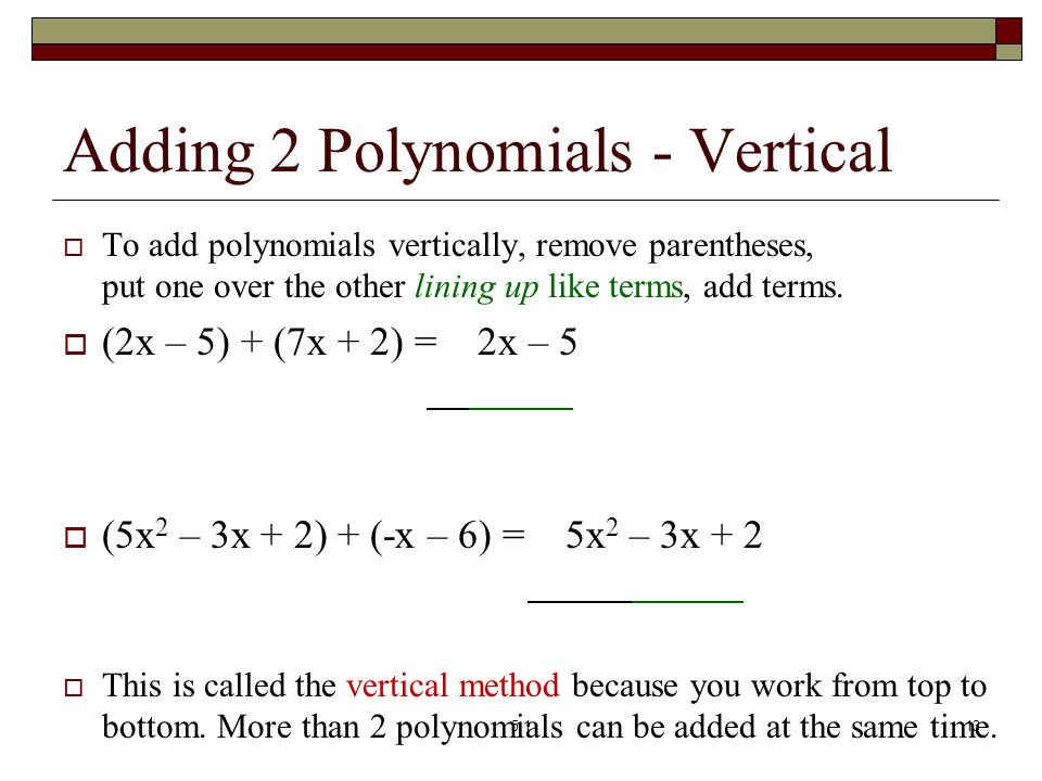 Adding 2 Polynomials - Vertical