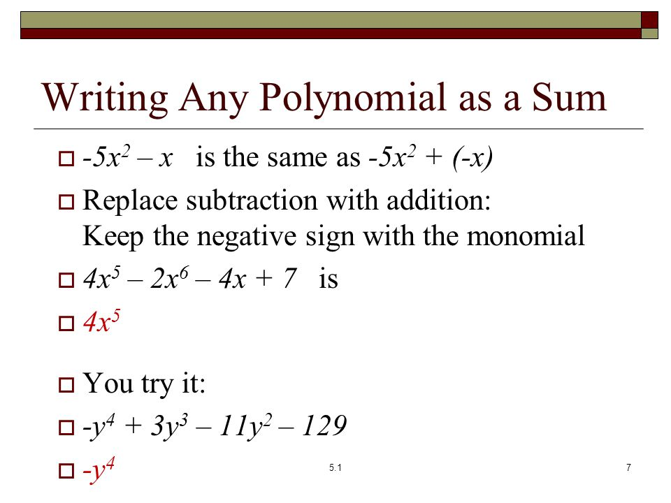 Writing Any Polynomial as a Sum