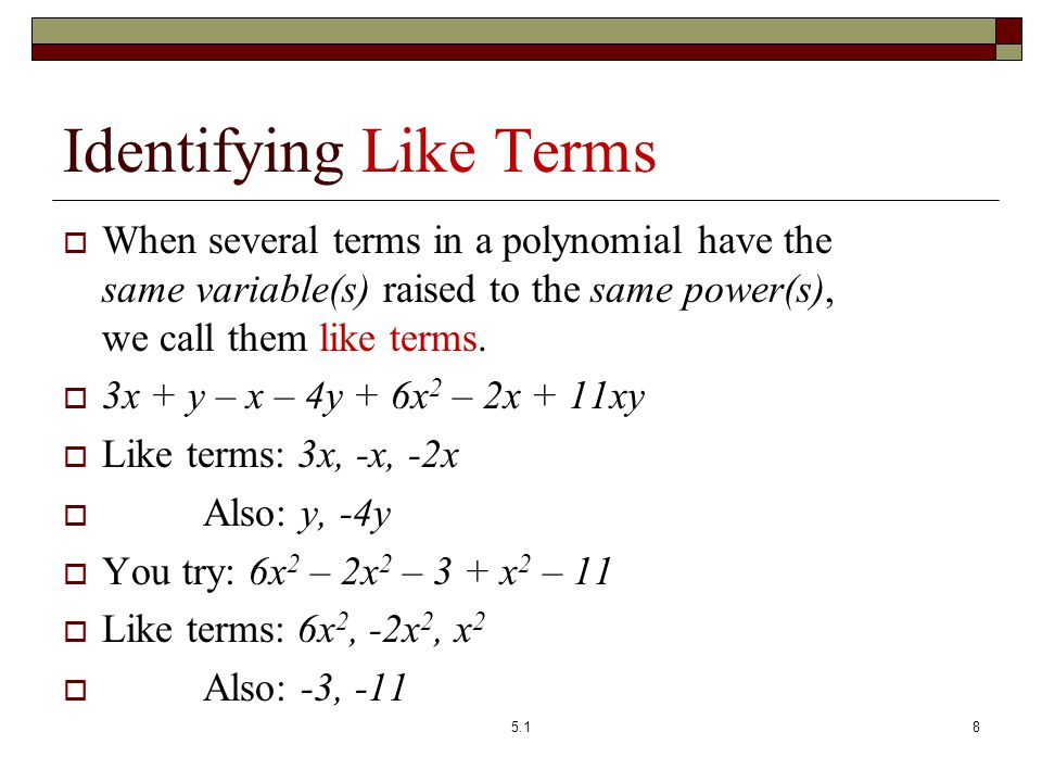 Identifying Like Terms