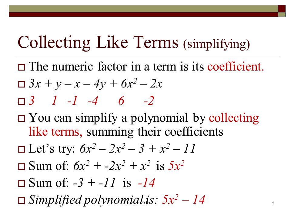 Sect 51 polynomials and polynomial functions ppt video online collecting like terms simplifying ccuart Gallery