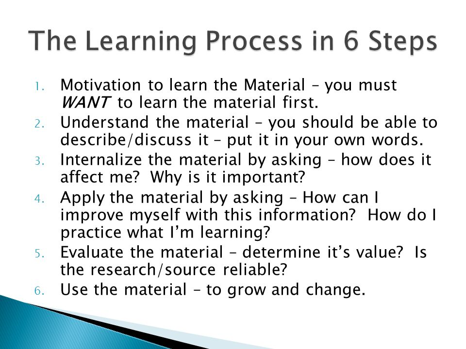 The Learning Process in 6 Steps