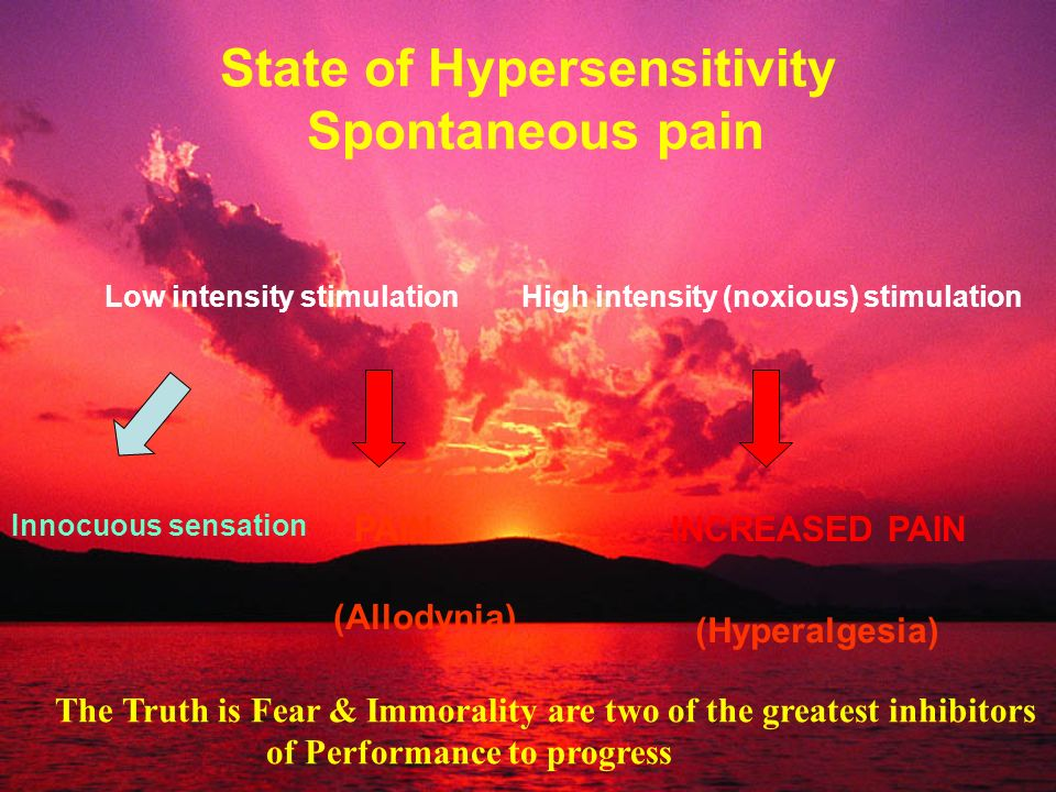 State of Hypersensitivity Spontaneous pain