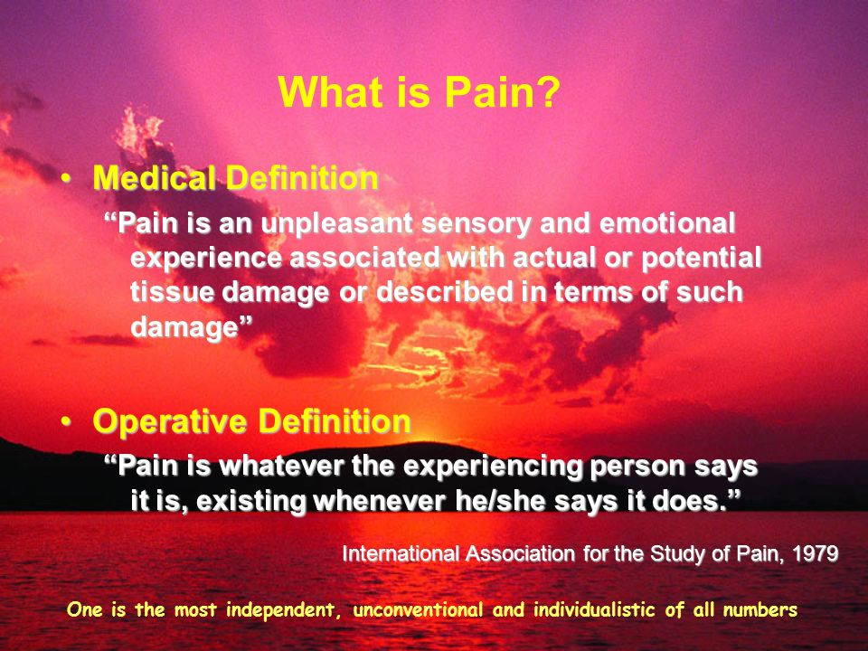 What is Pain Medical Definition Operative Definition