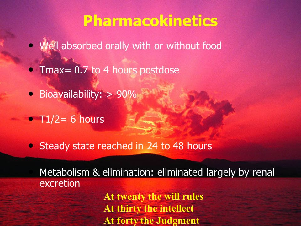 Pharmacokinetics Well absorbed orally with or without food