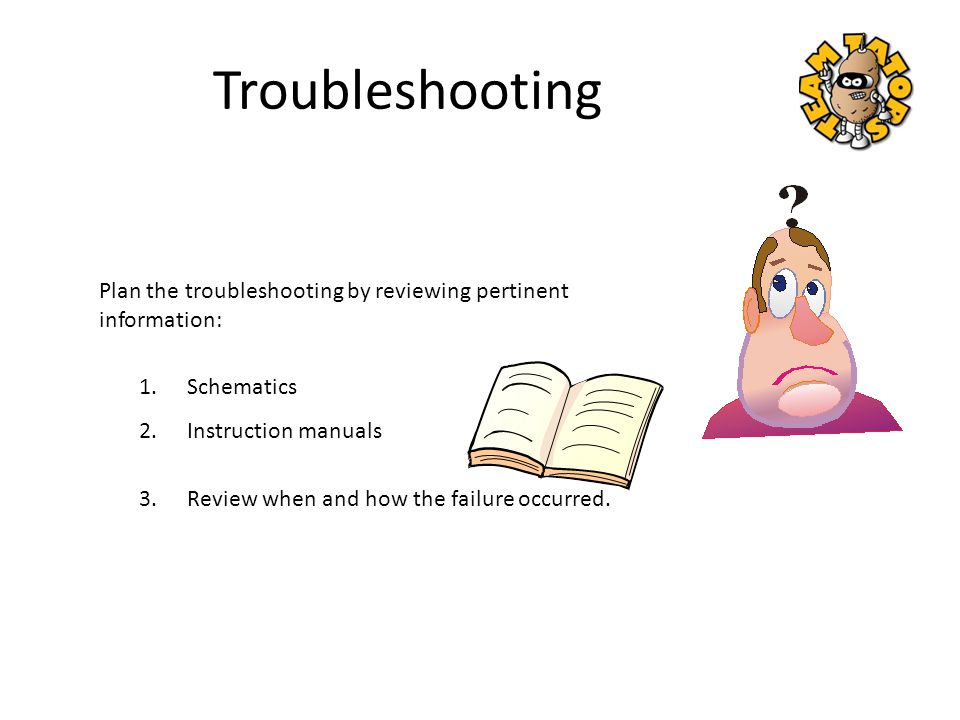 Troubleshooting Plan the troubleshooting by reviewing pertinent information: Schematics. Instruction manuals.