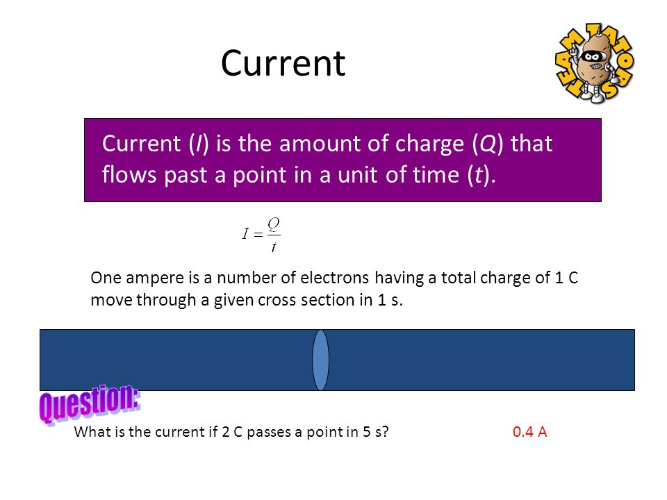 Current Current (I) is the amount of charge (Q) that flows past a point in a unit of time (t).